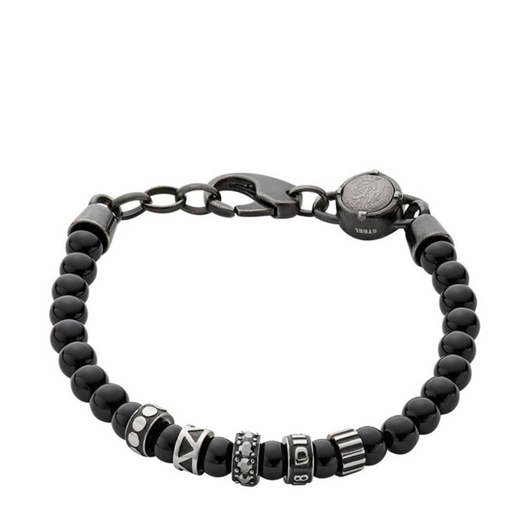 Diesel armband, Zwart/staal