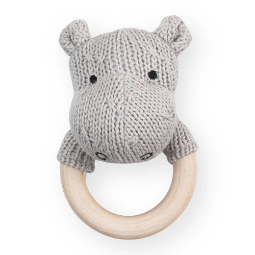 Jollein bijtring Ø 7cm Soft knit hippo light grey kopen