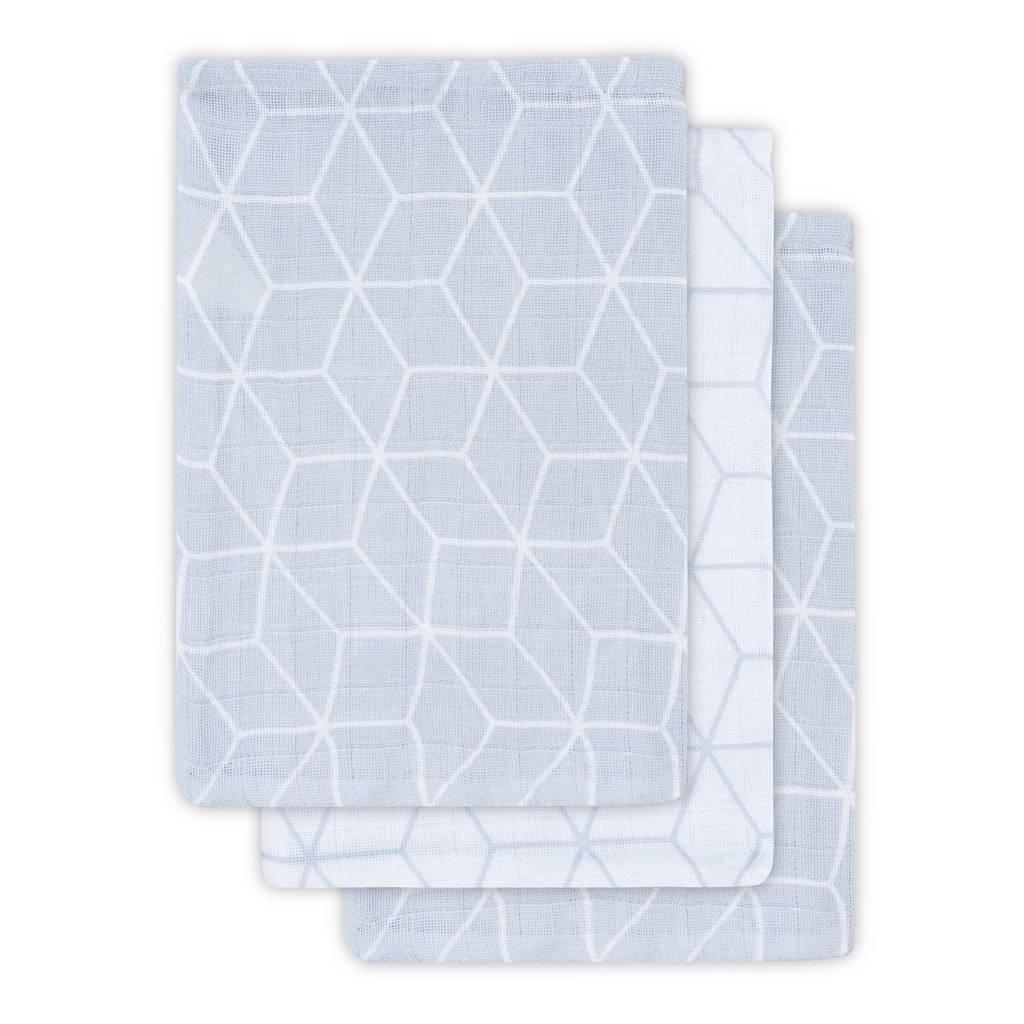 Jollein hydrofiel washandje Graphic grey 3-pack, Grey