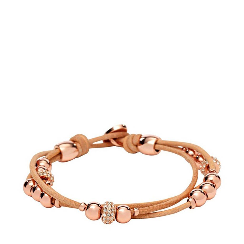Fossil Fashion Dames Armband JA6539791, Bruin, rosé
