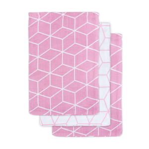 hydrofiel washandje Graphic mauve 3-pack