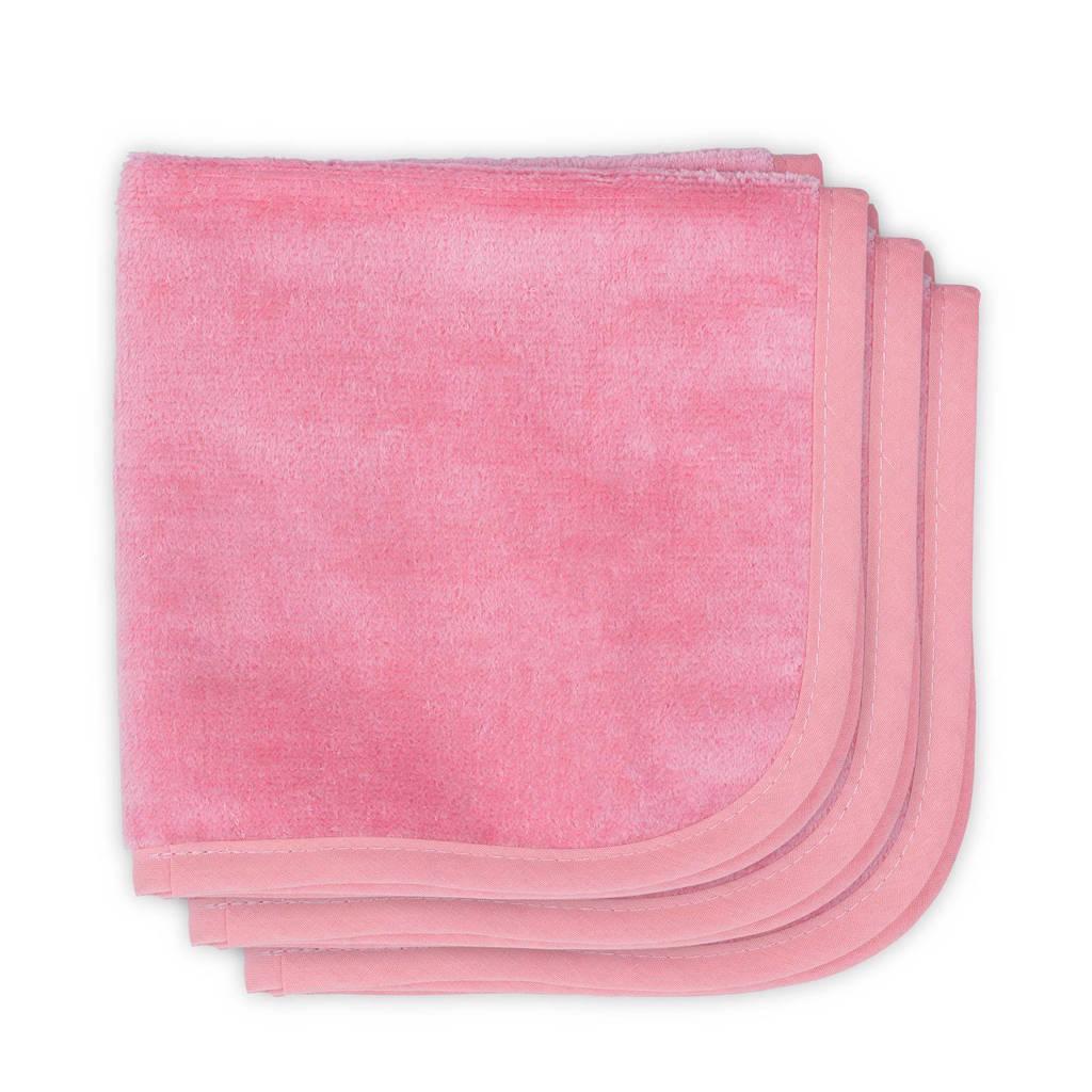 Jollein Velvet terry monddoekjes 30x30 cm (3 stuks) coral pink, Coral pink