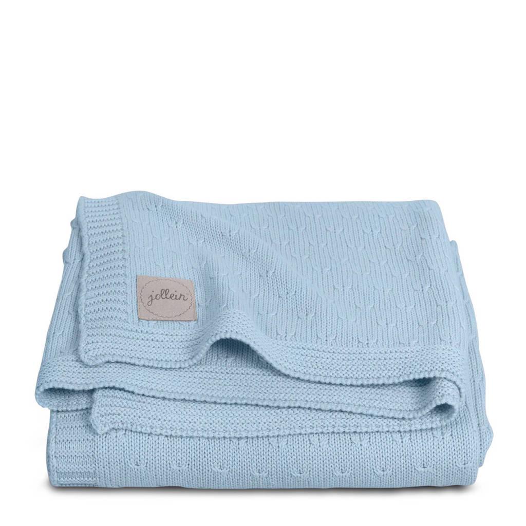 Jollein deken 75x100cm Soft knit soft blue / teddy