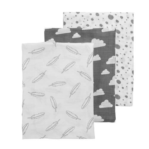 hydrofiele swaddles 120x120 cm (3 stuks) feather-clouds-dots