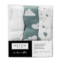 Meyco hydrofiele monddoekjes 30x30 cm (3 stuks) jade/wit, Stone green/wit