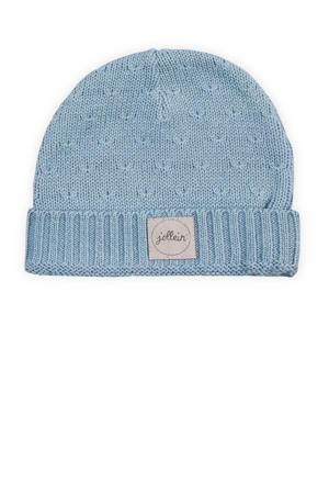 soft knit mutsje 2-9 mnd soft blue