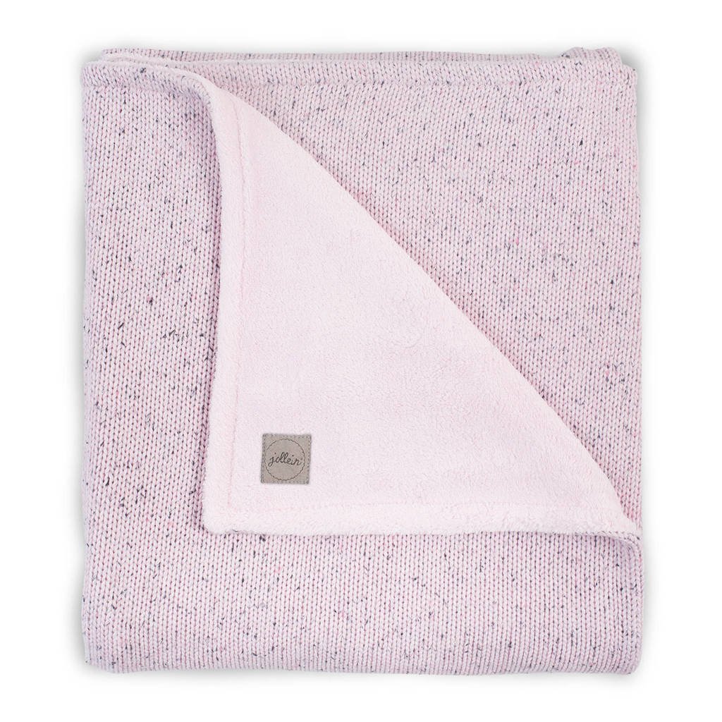 Jollein baby ledikantdeken 100x150cm Confetti Knit vintage pink/teddy, Vintage Pink