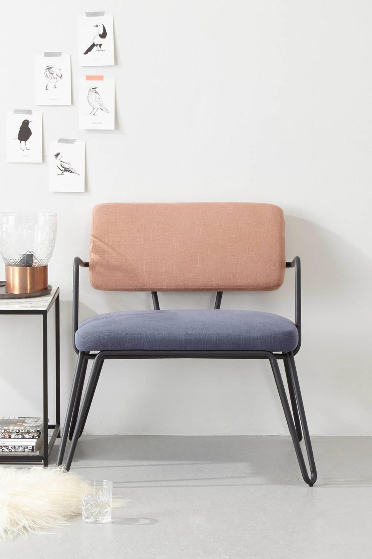 whkmp's own fauteuil Anna , Blauw, zalm