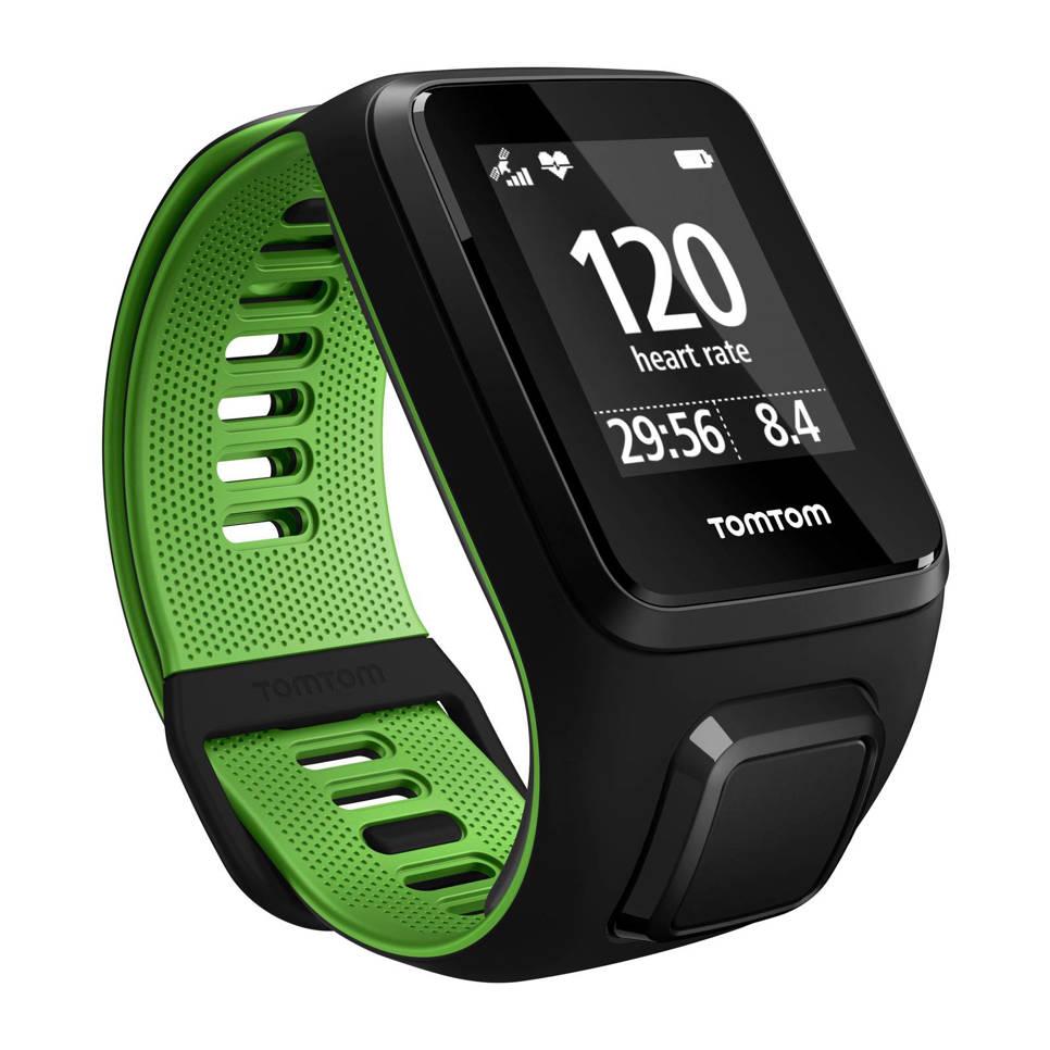 TomTom Runner 3 Cardio GPS-horloge, Zwart, Groen