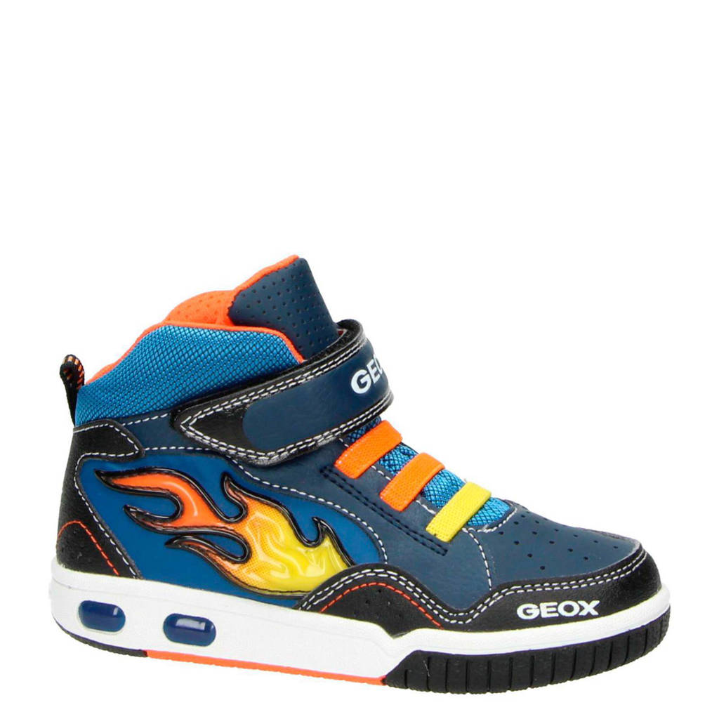 Geox  sneakers met lichtjes, Blauw/oranje/geel