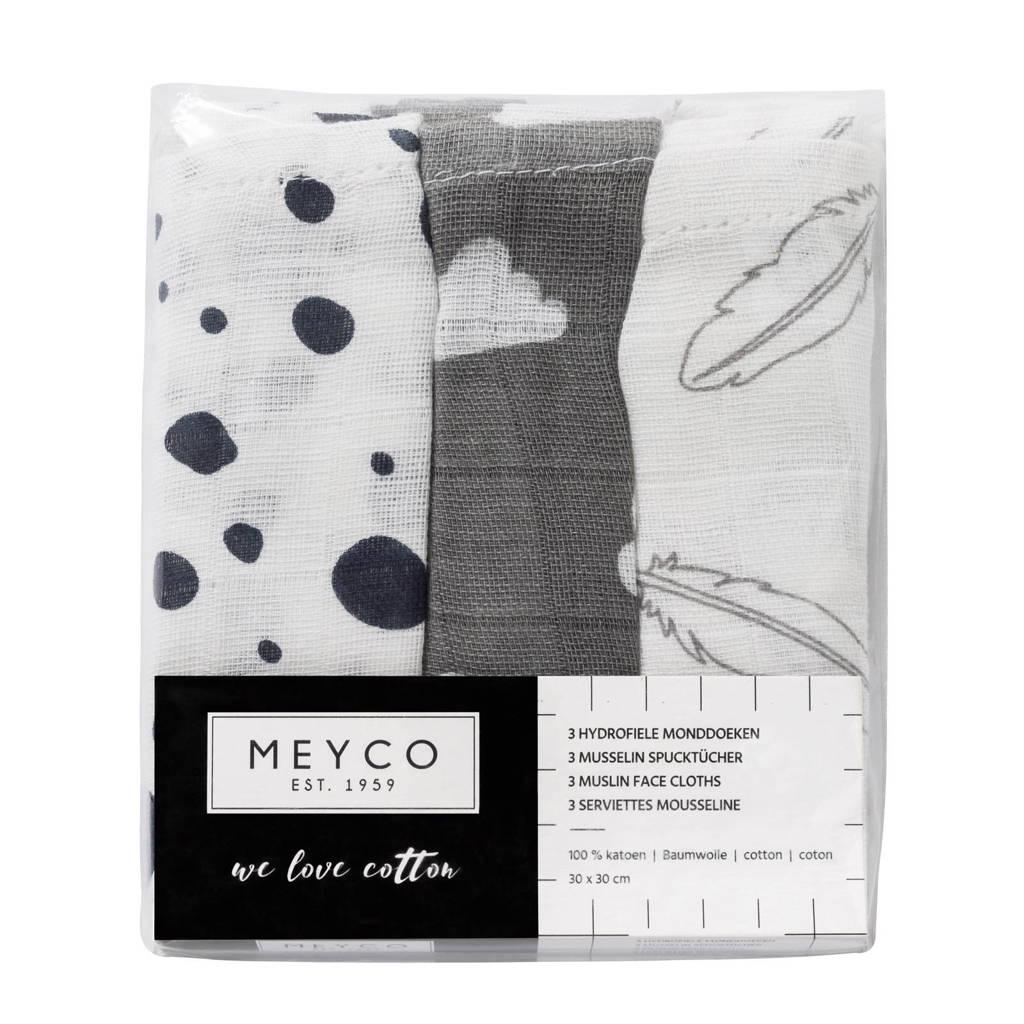Meyco hydrofiele monddoekjes 30x30 cm (3 stuks) marine/grijs/wit, Marine/grijs/wit