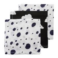 Meyco hydrofiele monddoekjes 30x30 cm (3 stuks) marine/zwart/wit, Marine/zwart/wit
