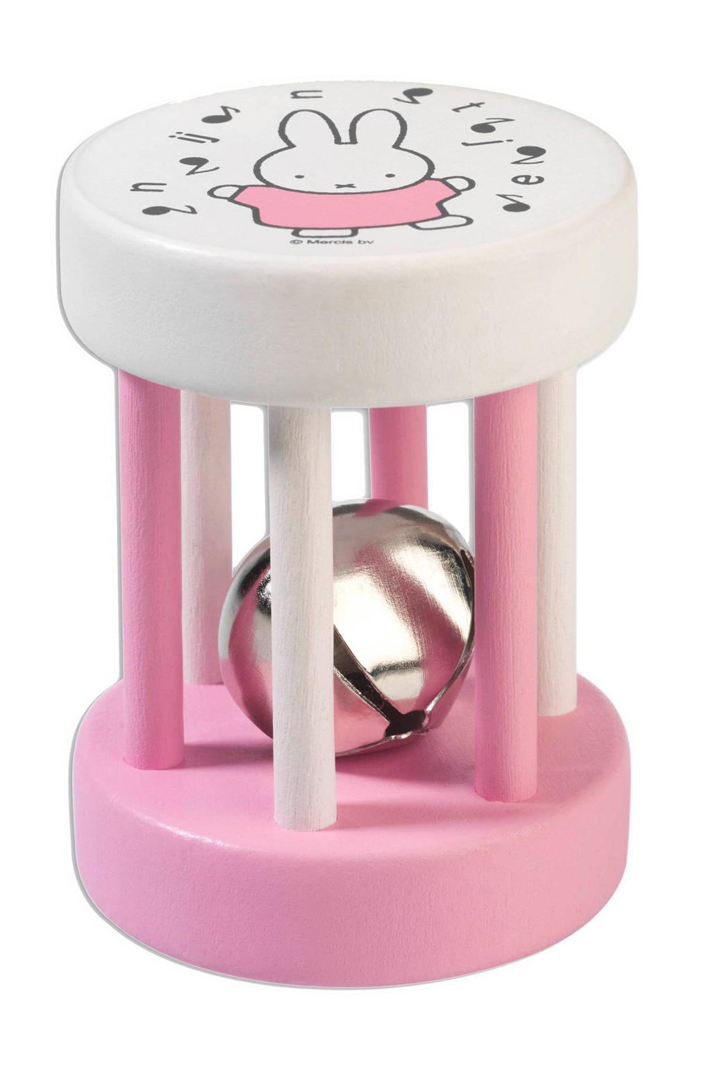 Rubo Toys nijntje houten rammelaar, Roze
