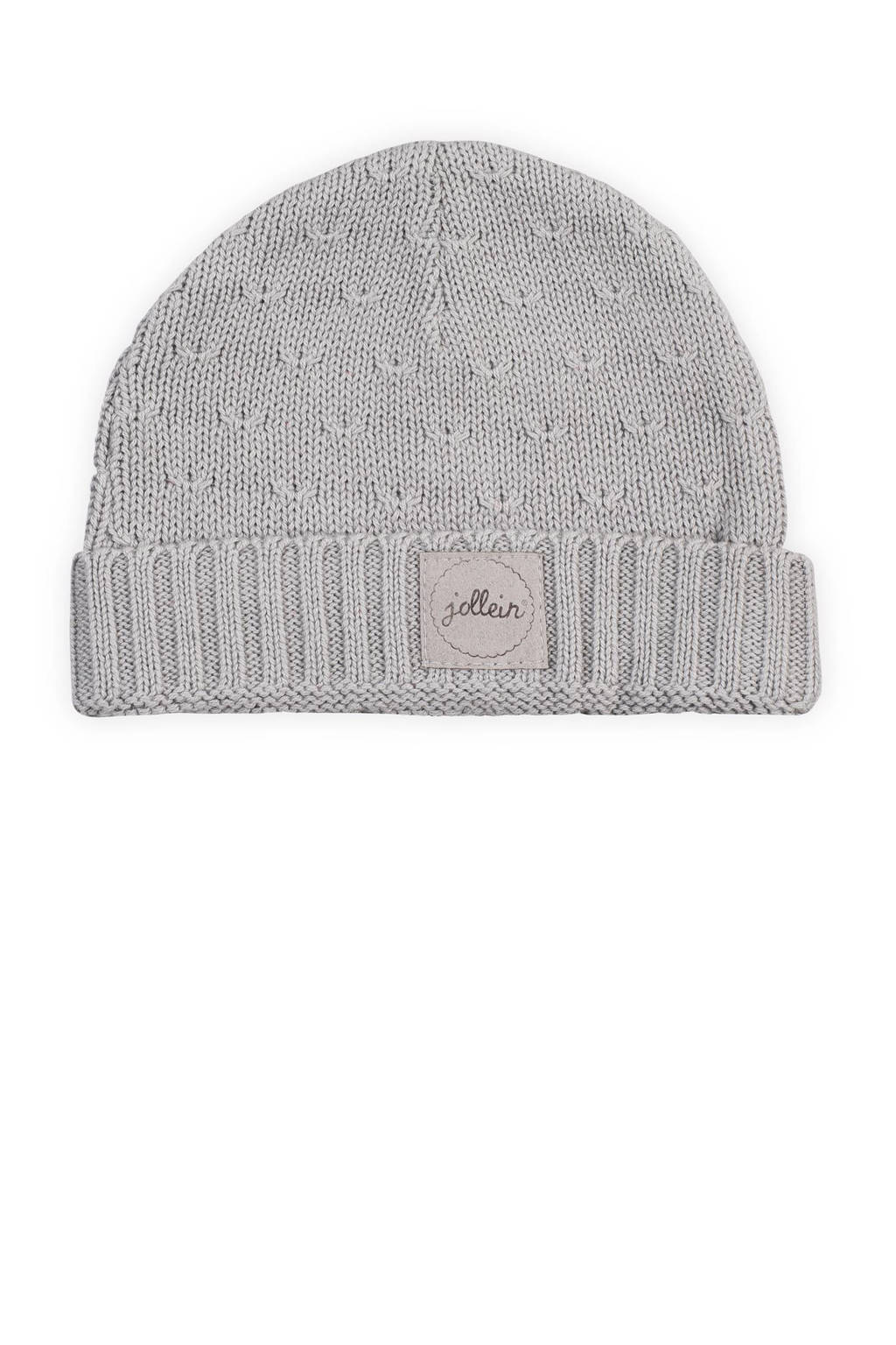 Jollein soft knit mutsje 2-9 mnd light grey, Light Grey
