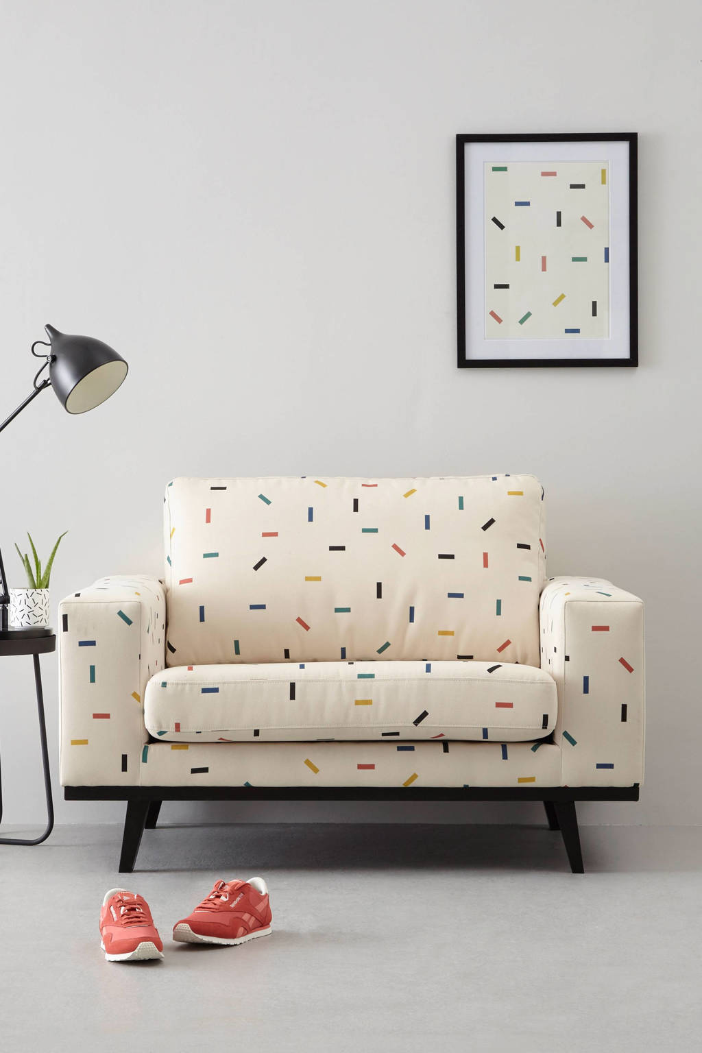 whkmp's own loveseat Torino met sprinkles, Wit met sprinkles
