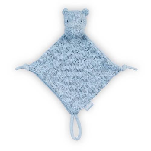 Jollein Soft knit Hippo soft blue knuffeldoekje kopen
