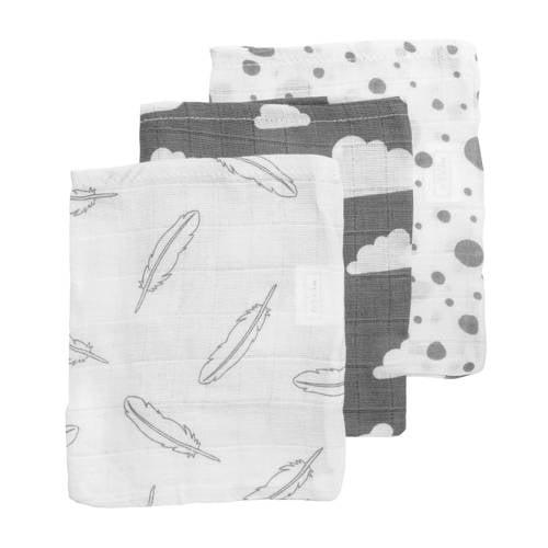 Meyco hydrofiele washandjes (set van 3) grijs/wit
