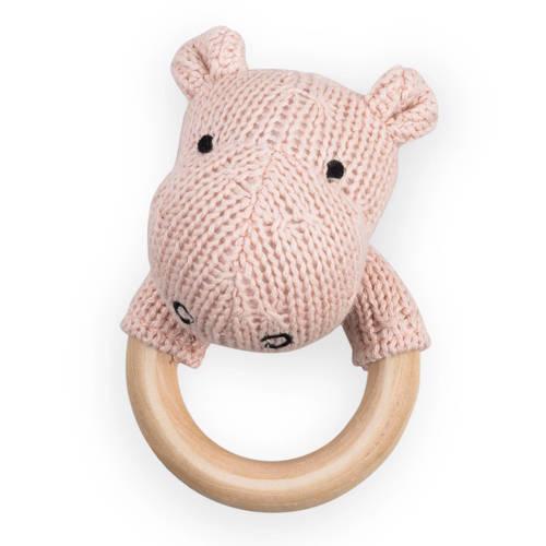 Jollein bijtring Ø 7cm Soft knit hippo creamy peach kopen