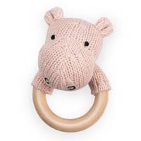 Jollein bijtring Ø 7cm Soft knit hippo creamy peach, Creamy peach
