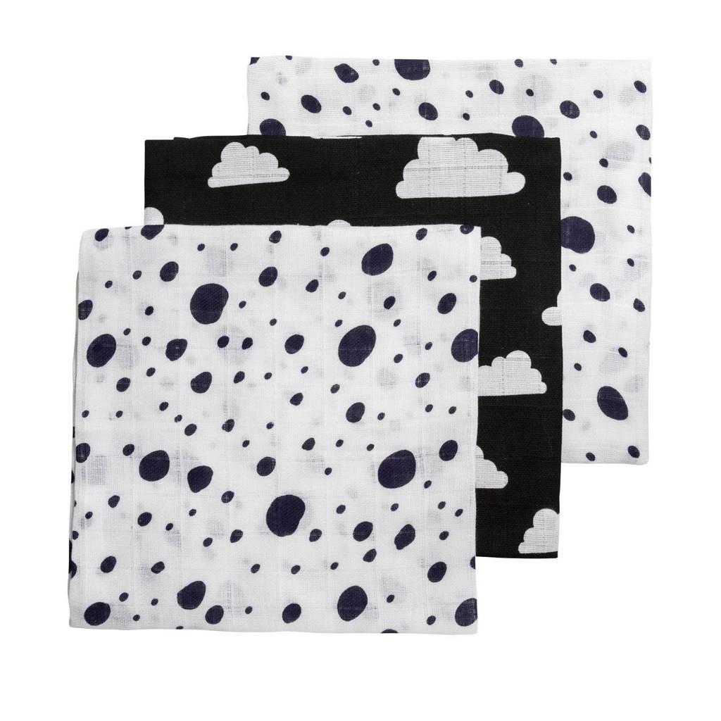 Meyco hydrofiele luiers 70x70 cm (3 stuks) marine/zwart/wit, Marine/zwart/wit