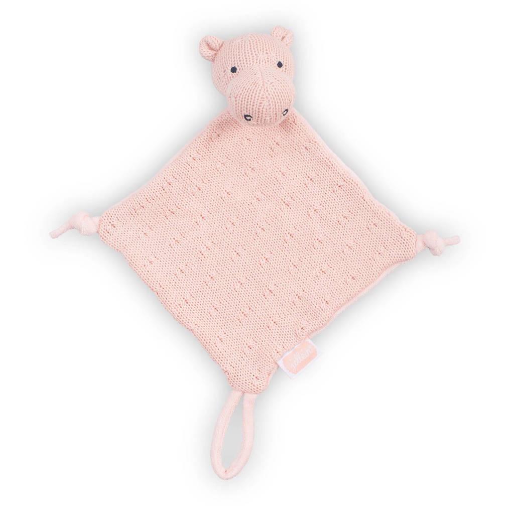Jollein Soft knit Hippo light grey knuffeldoekje, Creamy peach