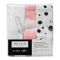 Meyco hydrofiele washandjes (set van 3) roze/grijs/wit, Roze/grijs/wit
