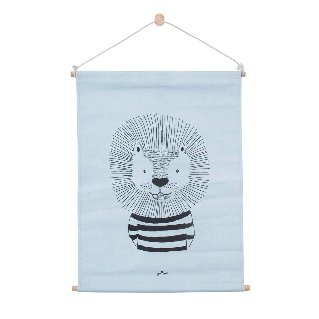 Jollein Poster 42x60cm canvas Wild Animals soft blue