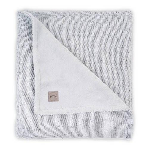 wiegdeken 100x150cm Confetti Knit grey-teddy