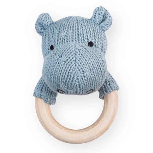 Jollein bijtring Ø 7cm Soft knit hippo soft blue kopen