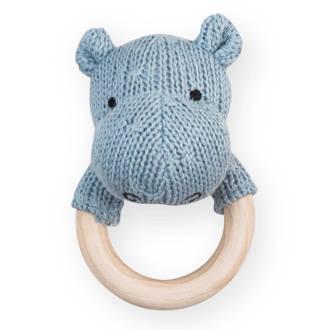 bijtring Ø 7cm Soft knit hippo soft blue