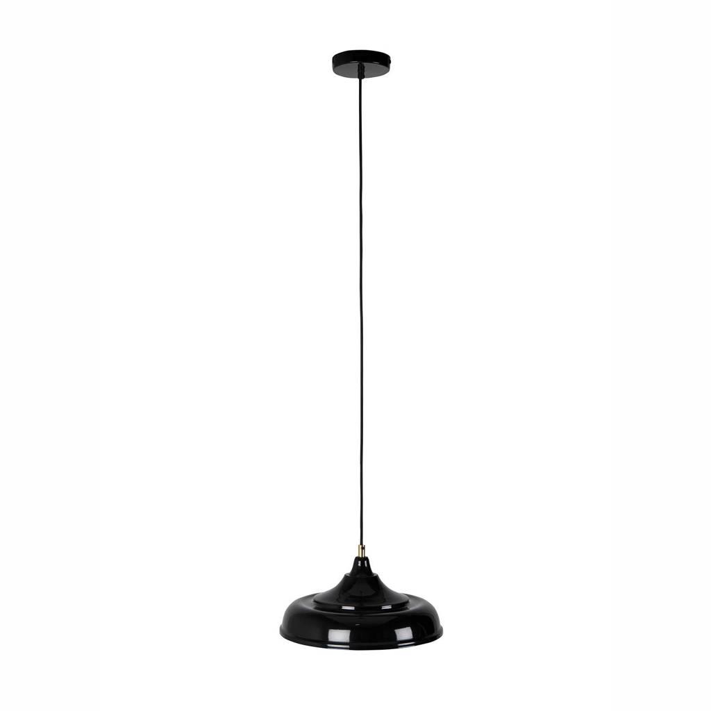 Dutchbone Sally Black hanglamp, Zwart/geel