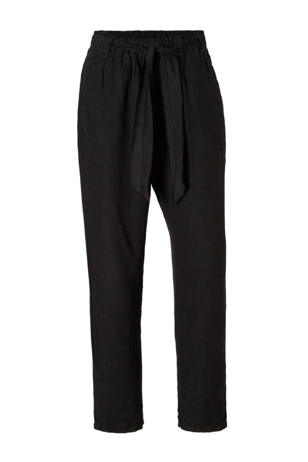 10DAYS high waisted loose fit linnen broek, Zwart