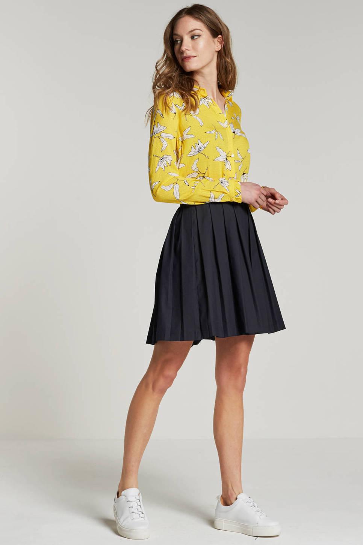 modström Gigi blouse met bloemen, Geel/wit