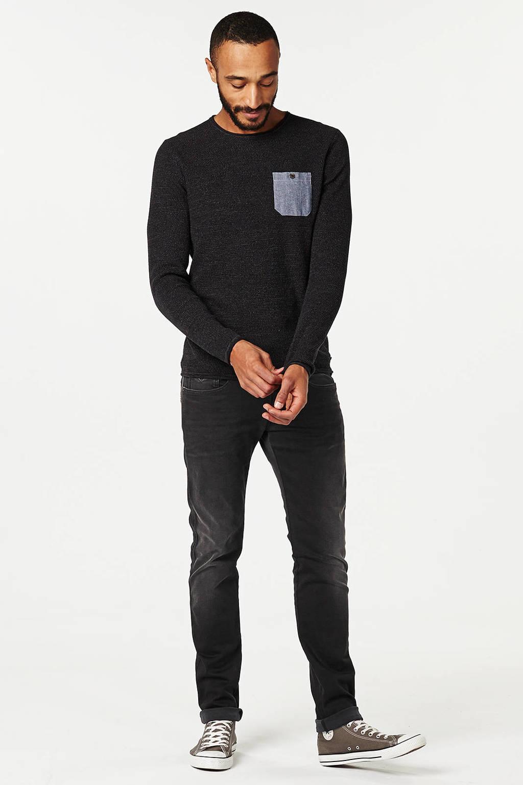 REPLAY slim fit jeans Anbass Hyperflex zwart, Zwart