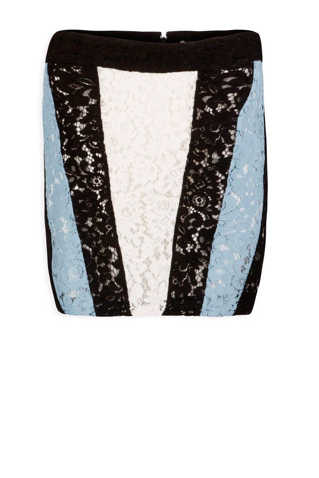 Morgan kanten rok, Zwart/lichtblauw/wit