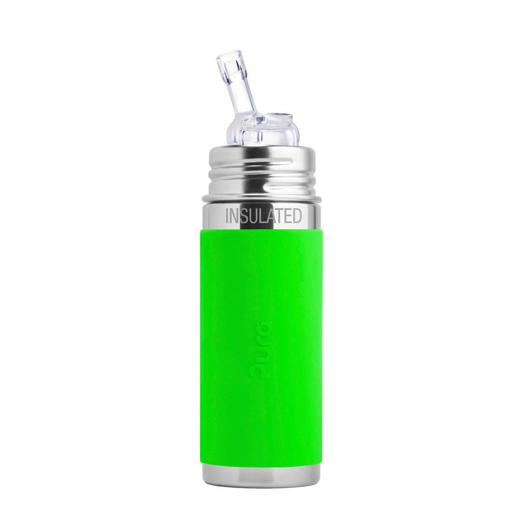 Pura Kiki fles met rietje 260 ml groen, Groen