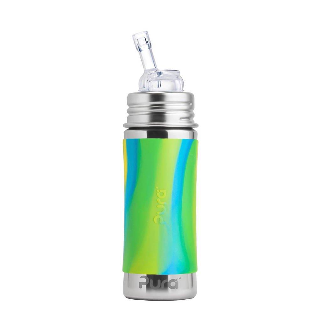 Pura Kiki fles met rietje 325 ml aqua swirl, Aqua swirl