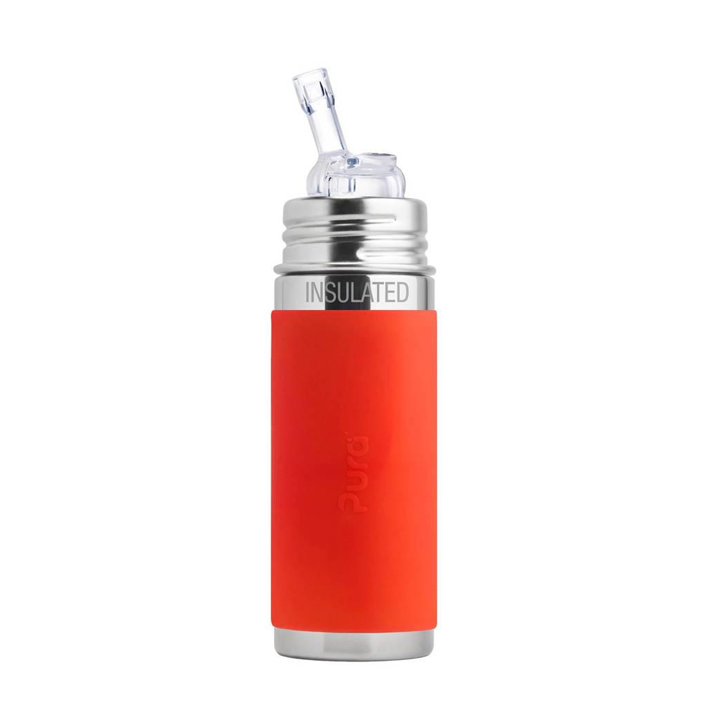 Pura Kiki fles met rietje 260 ml, Oranje