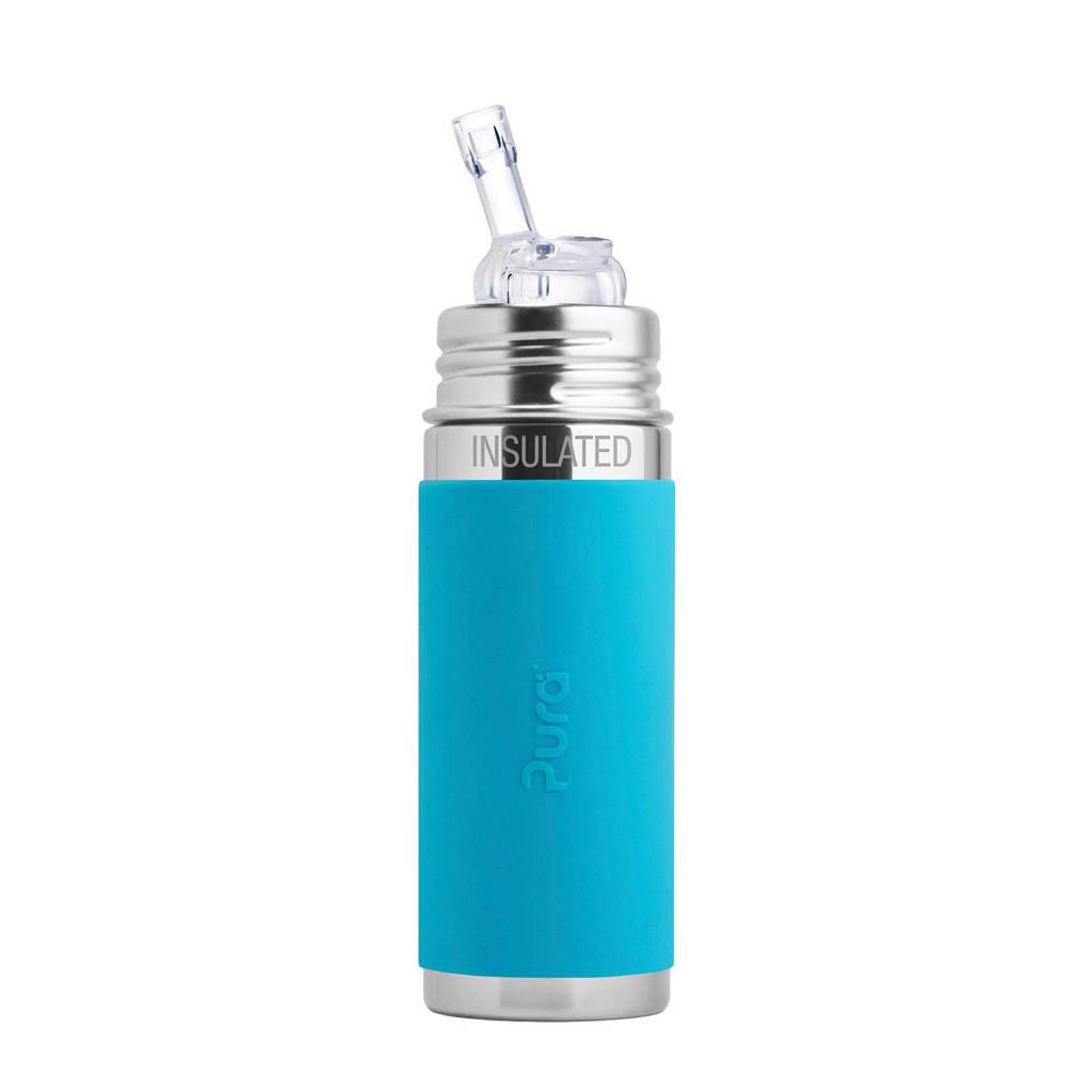 Pura Kiki fles met rietje 260 ml blauw, Aqua