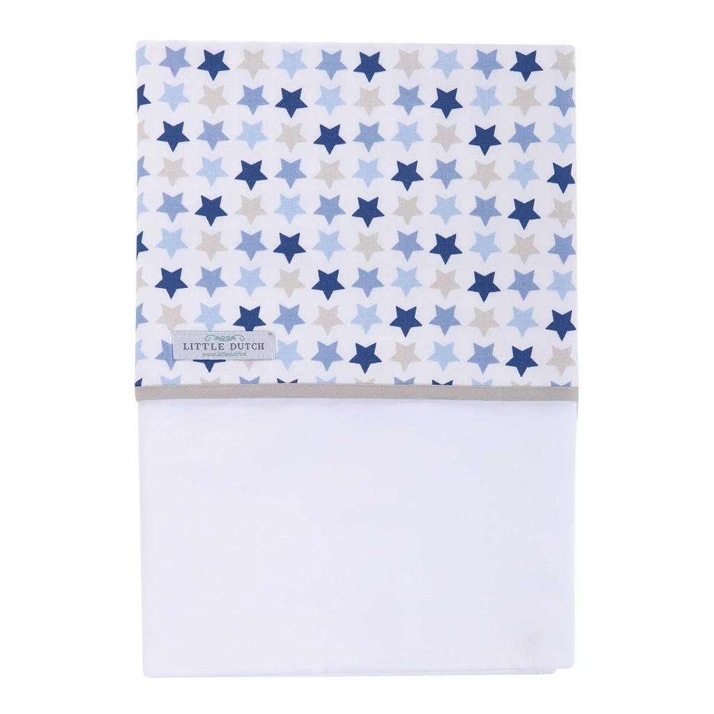 Little Dutch ledikantlaken 110x140 cm mixed stars blue, Mixed stars blue