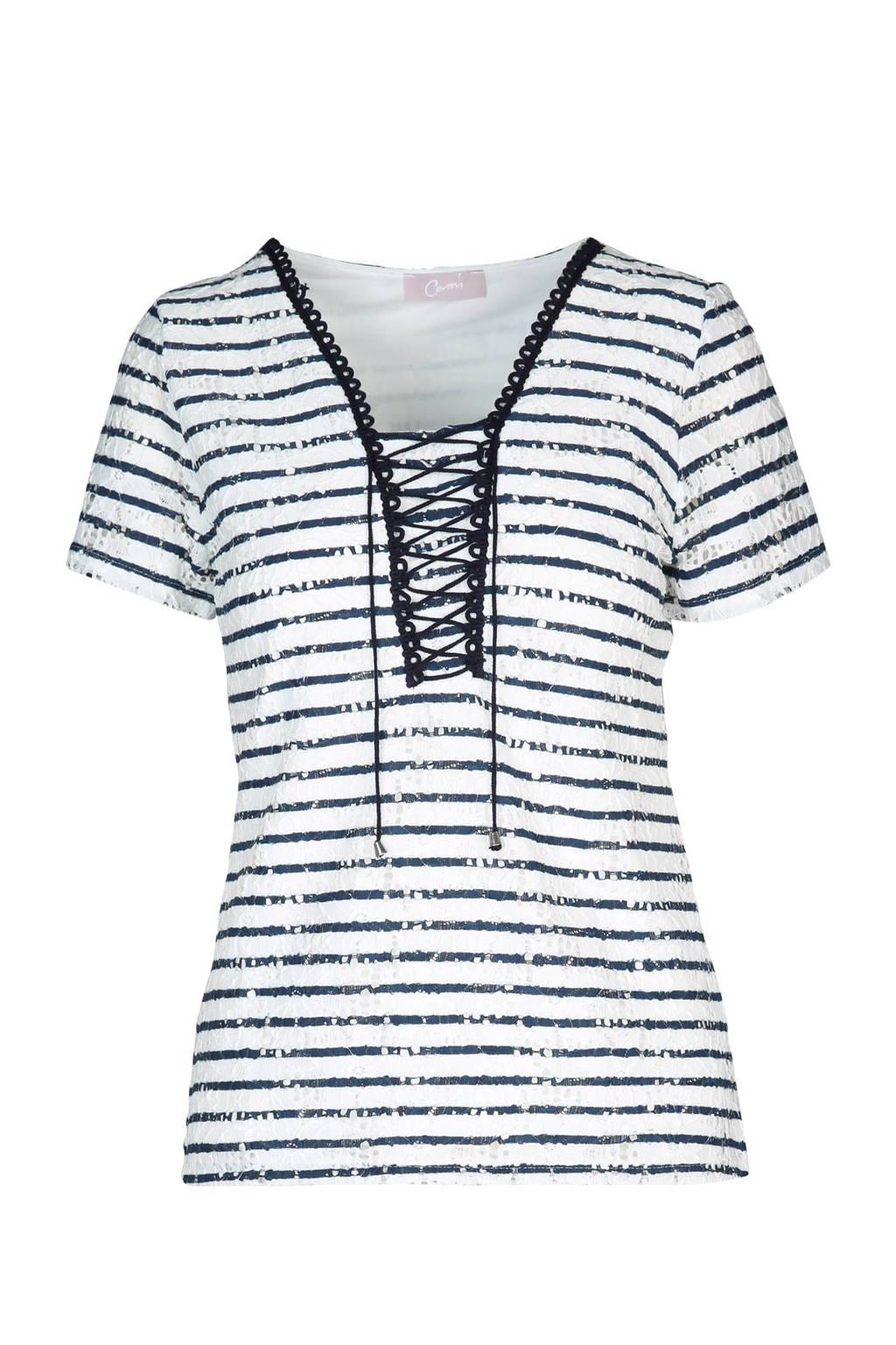 Cassis kanten T-shirt met veterdetail, Wit/marine