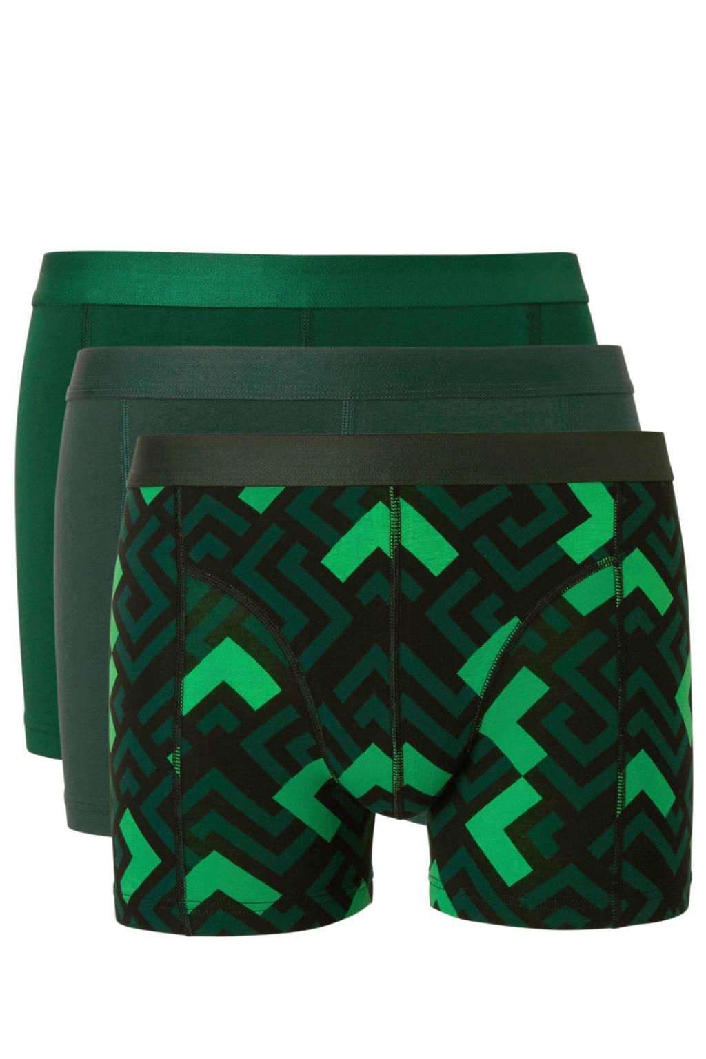 whkmp's own boxershort (set van 3), Groen/zwart