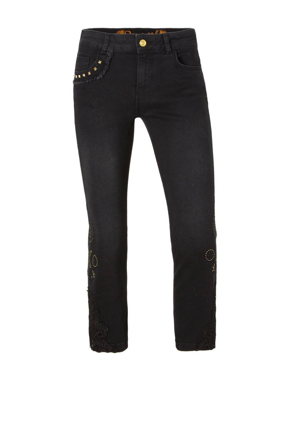 Desigual cropped flared jeans, Zwart