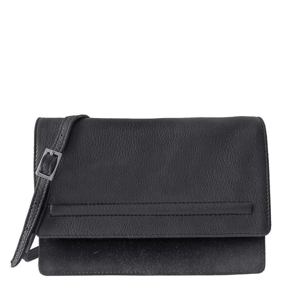 Bandhu  Small essential bag  leren crossbody tas, Zwart