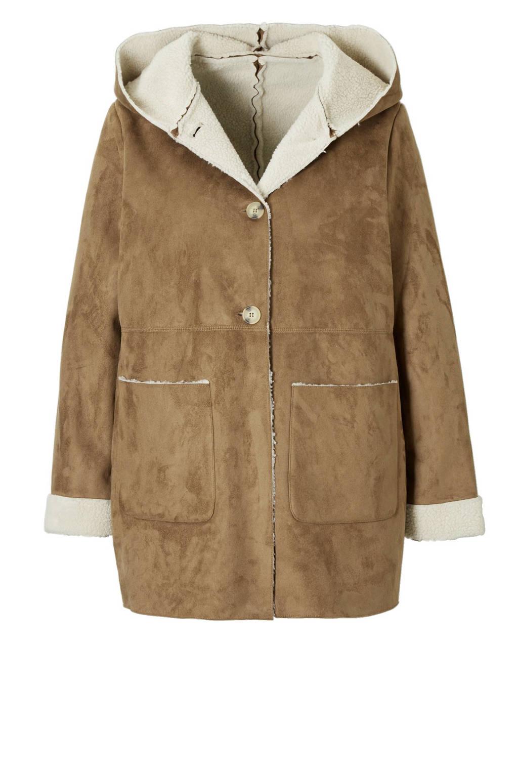 Violeta by Mango lammy coat, Bruin