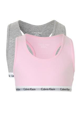 bh top - set van 2 roze/grijs melange
