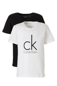 CALVIN KLEIN T-shirt met logo - set van 2 wit/zwart, Zwart/wit