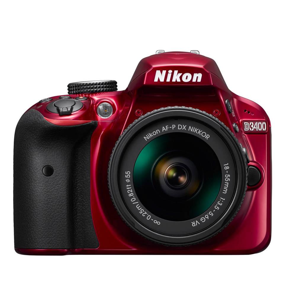 Nikon D3400 Kit AF-P 18-55mm VR rood spiegelreflex camera