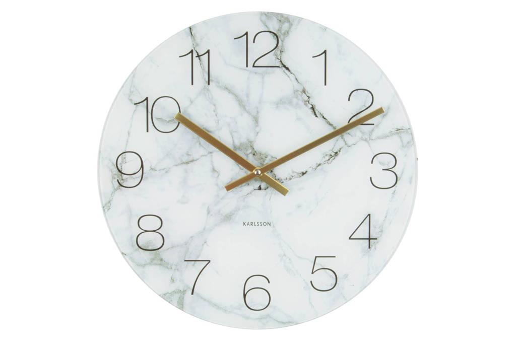Karlsson Klokken klok (Ø17 cm), Marmer wit