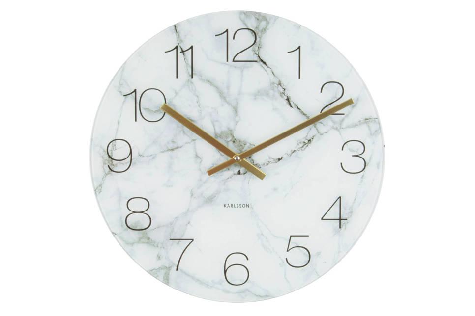 Karlsson Klokken klok (Ø17 cm) , Marmer wit
